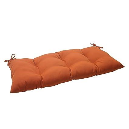 44u0026quot; Cinnamon Burnt Orange Outdoor Patio Tufted Loveseat Cushion