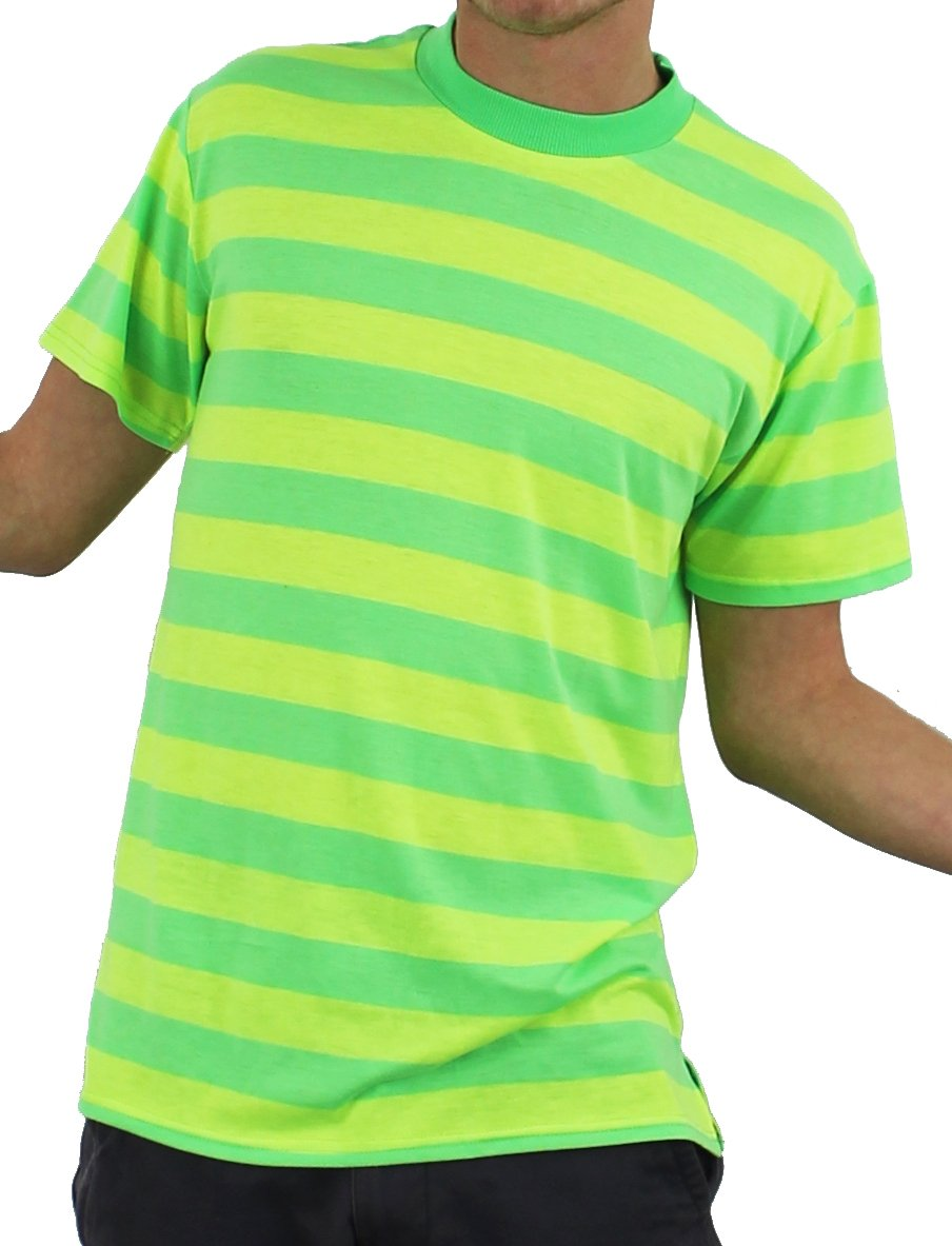 Yellow and Green Striped Men's Fresh Prince T-shirt - Small