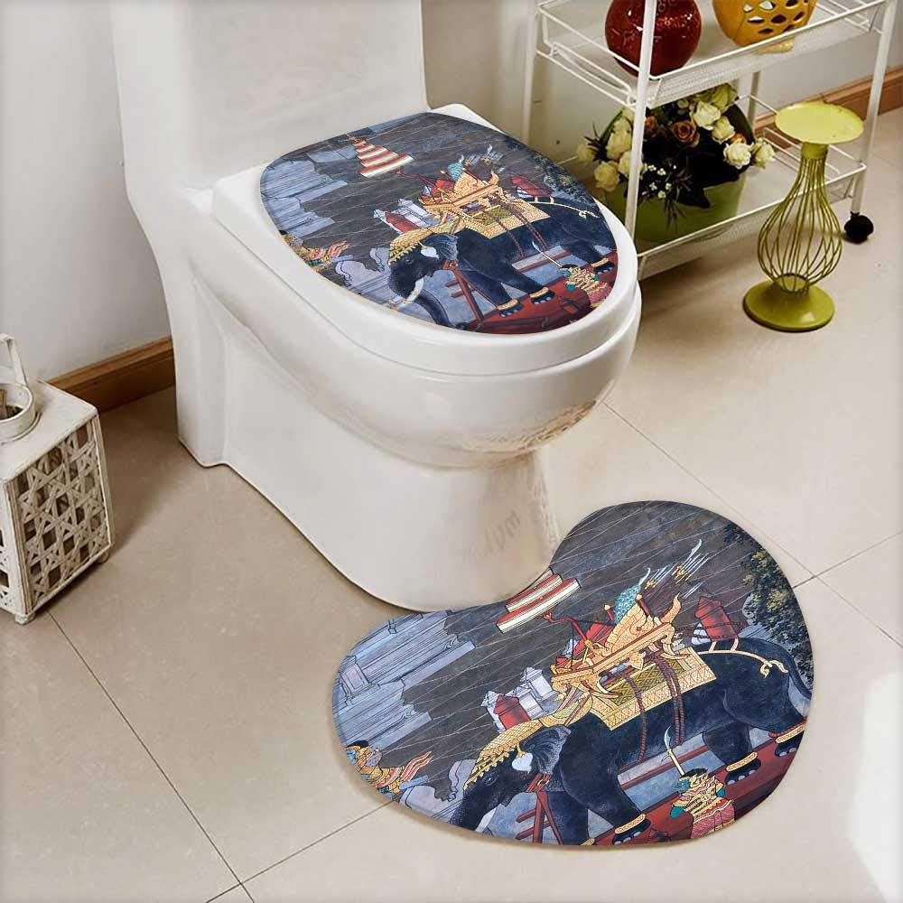 Analisahome 2 Piece Toilet lid cover mat set Elephant Traditional Thai style painting Ramayana in Wat Phra Kaew This is traditional Soft Shaggy Non Slip