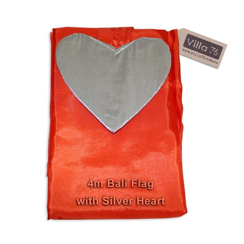 4M Bali Flag Orange With Silver Heart, Party, Weddings, Events Satin Art Supplies & Home