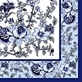 Dining Collection Decorative Paper Cocktail Napkins – Blue Bountiful Blossoms