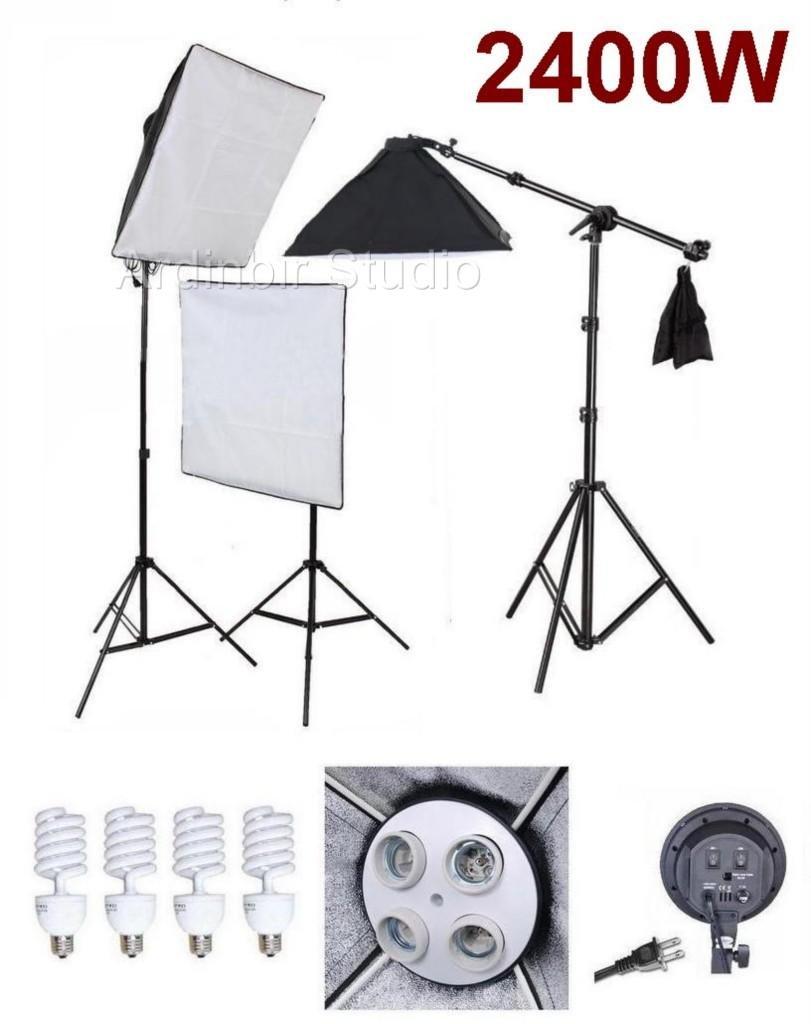 Ardinbir Studio 2400 W写真ソフトボックス照明キットを継続ライト、ソケットとライトスタンド   B004FNO4IC