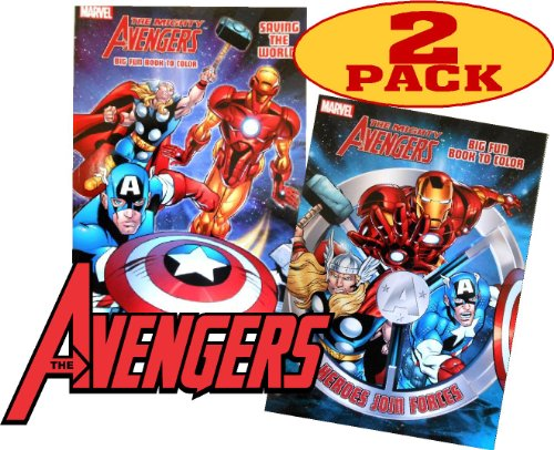 Super Heroes Coloring Books - Marvel Mighty Avengers Coloring and Activity Book Set (2 Books ~ 96 pgs each)