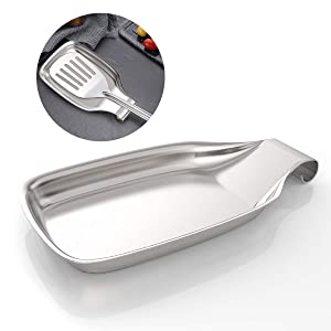 Spoon Rest for Stove Top, Amytalk Stainless Steel 304 Stove Spoon Rest Heavy Duty Holder for Kitchen, Spatula Ladle, Brush and Other Cooking Utensils