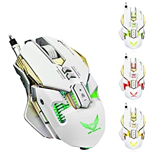 ZERODATE Gaming Mouse,X300 Professional 3200DPI Optical Programmable Wired Gaming Mouse (White)
