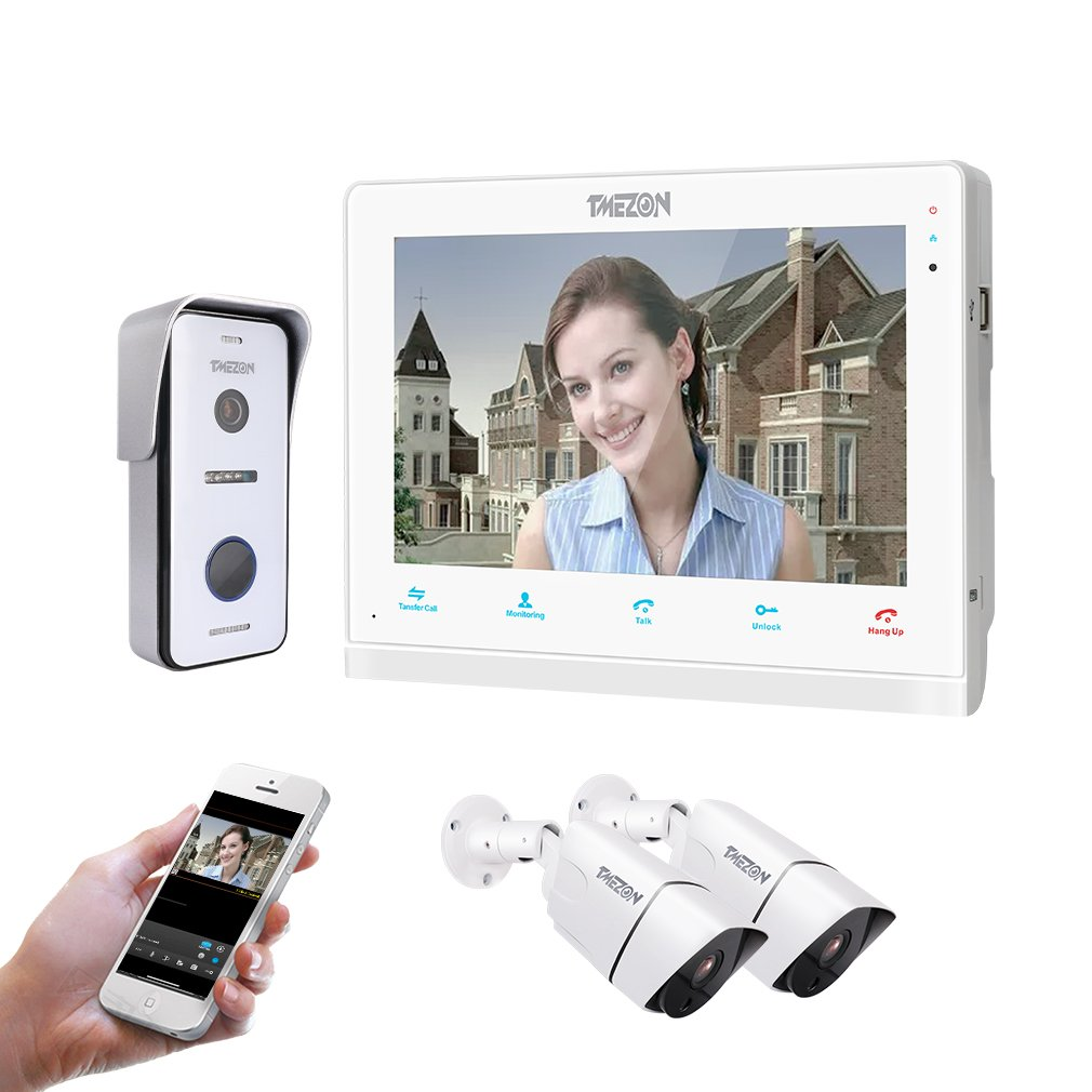 Fernbedienung T/ür/öffner und App TMEZON WLAN Video T/ürsprechanlage T/ürklingel Gegensprechanlage System,7 Zoll WLAN Monitor mit 2X Verdrahteter Kamera im Freien F/ür 1-Familienhaus