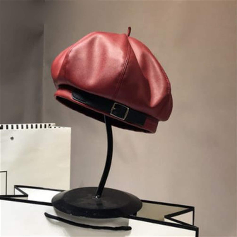 Leather French Beret Women Black Octagonal Cap Female Vintage Spring Summer Ladies 2019 New Pumpkin Hat