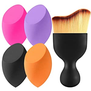 BEAKEY 4+1Pcs Makeup Sponges & Contour Brush, Latex-free, Professional Beauty Blending Sponge for Dry or Wet Use, Multi-Colored