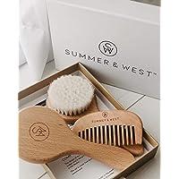 Natural Wooden Baby Brush and Comb Set - Premium Newborn Hair Brush Set - Unisex