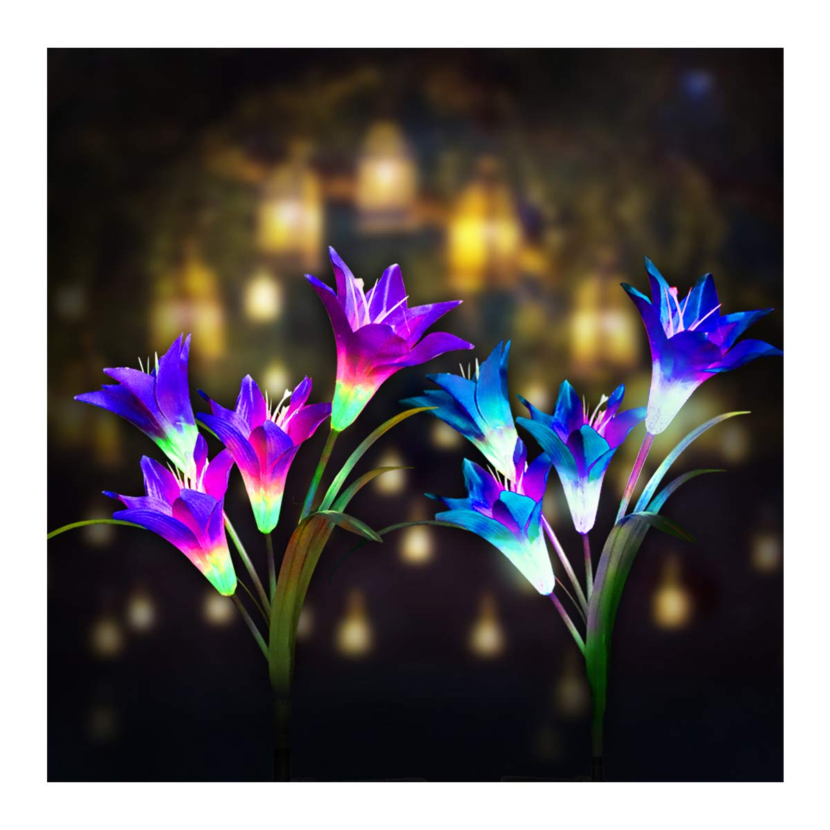 Digiroot Waterproof Outdoor Solar Garden Stake lights, 2 Packs Solar Powered Garden Lights with 8 Lily Flower , Multi-Color Changing LED Solar Stake Lights for Garden, Patio, Backyard Decor