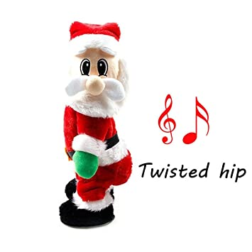 xiaolanwelc electric santa claus figure dolls twerking singing christmas decorations for kids toys - Singing Christmas Toys