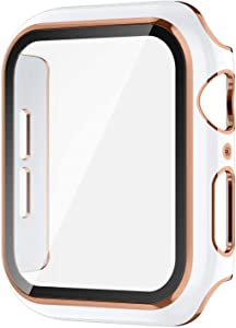 Protective Case for Apple Watch Series 6/5/4/se with HD Tempered Glass Screen Protector, Ultra-Thin Full Coverage PC Frame Cover Scratch-Resistant Bumper Guard for Women Men -- 44mm (White)