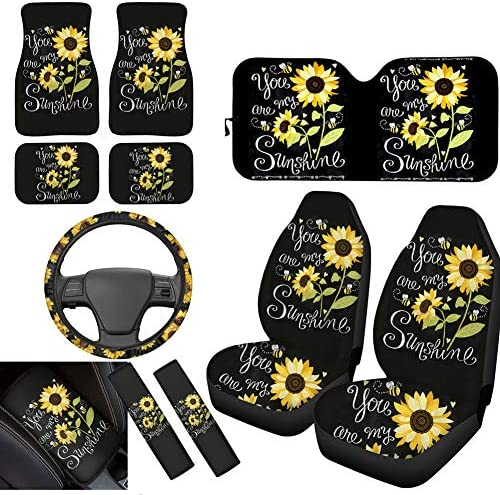 chaqlin Sunflowers Front Car Seat Cover+Car Mats+Windshield Sun Shade+Streering Wheel Cover+Center Console Cover+Seat Belt Pads 11 pc Universa Fit Cars Trunks Sedan SUV Automotive Interior Protector
