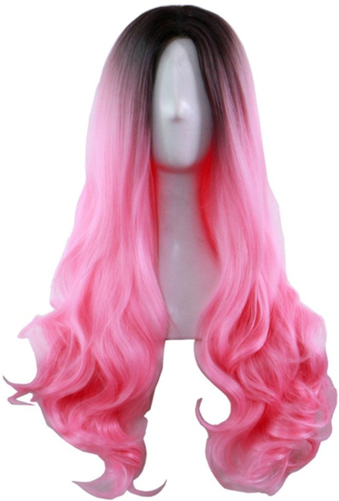 AneShe Ombre Wig Long Wavy 2 Tone Black and Pink Ombre Wig Dark Roots Heat Resistant Fiber Full Wigs for Women (Black to Pink)