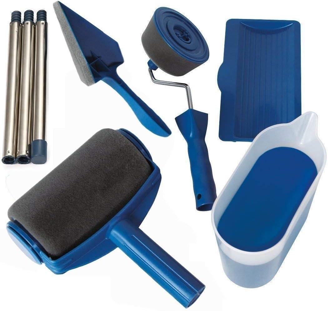 Juego de herramientas para pintar con rodillo de pintura, para el hogar, bricolaje, multifunción, 5 unidades, pintor, Azul