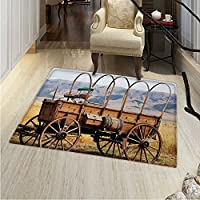 Western Floor Mat Pattern Photo Old Nostalgic Wild West American Cart Carriage in The Farm Texas Style Living Dinning Room & Bedroom Rugs 5x6 Brown Yellow