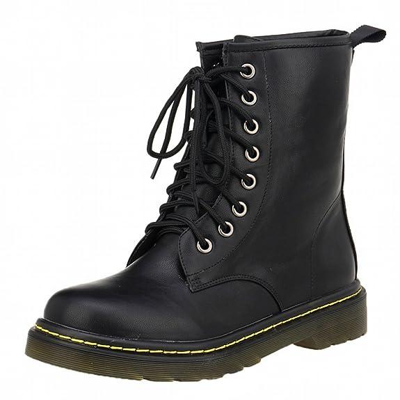 WanYang Bootsschuhe Stiefel Winter Boots für Damen PU Leder Kurz Schlupfstiefel MFn0eRX