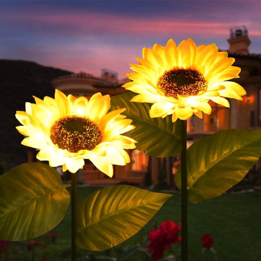 Sunflower Garden Solar Lights 28 Inch Outdoor Waterproof Solar Decorative Lighting LED Powered Landscape Lights Decor Yard Stake Lamp for Pathway, Patio, Porch, Balcony, Backyard,Lawn (2pcs)