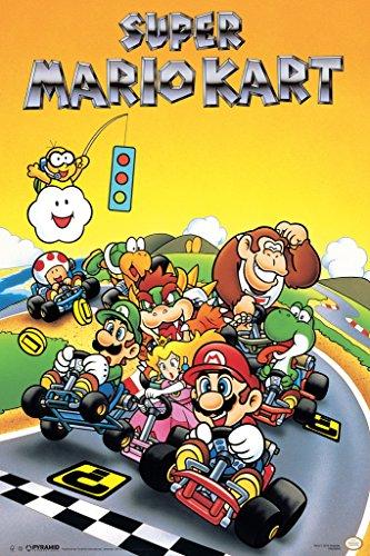 Pyramid America Super Mario Kart Super Nintendo SNES Go Kart Racing Video Game Luigi Princess Peach Poster 12x18 -