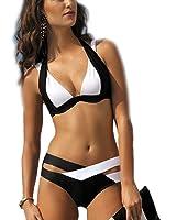 Arrowhunt Damen Mädchen Schwarz und Weiß Zweiteilige Neckholder Push Up Bikini Set