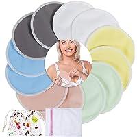 Lictin Nursing Pad-Reusable Breast Pads Organic Bamboo Washable Nursing Breast Pads 12 PCS 4.8inch Ultra-Soft and…