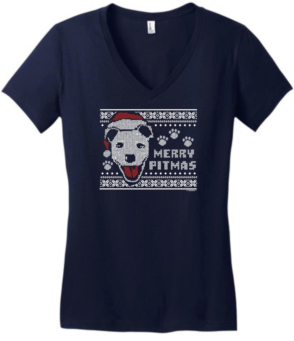 Merry Pitmas Pitbull Lover Pitbull Vneck 6577 Shirts