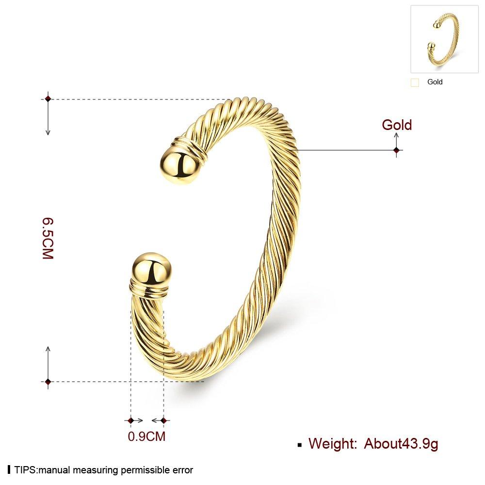 Zhiwen Simple Cuff Bracelet 18K Real Gold Platinum Plated Fine Bangle Bracelet Cable Wire Twisted Cuff Bangle Bracelets for Women Men by Zhiwen (Image #2)