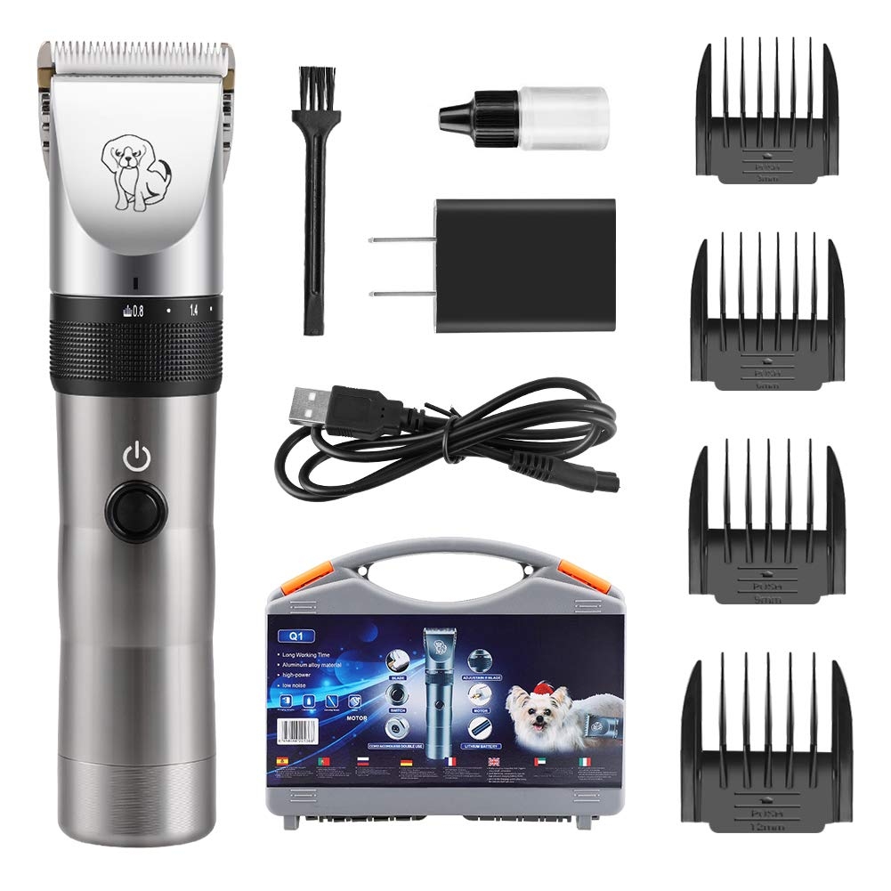 KeShi Dog Clippers - 2200 Lithium Ion Rechargeable Pet Grooming Kit, Cordless Aluminum Alloy Dog Hair Trimmer Professional Low Noise Shaver for Dogs and Other Pets