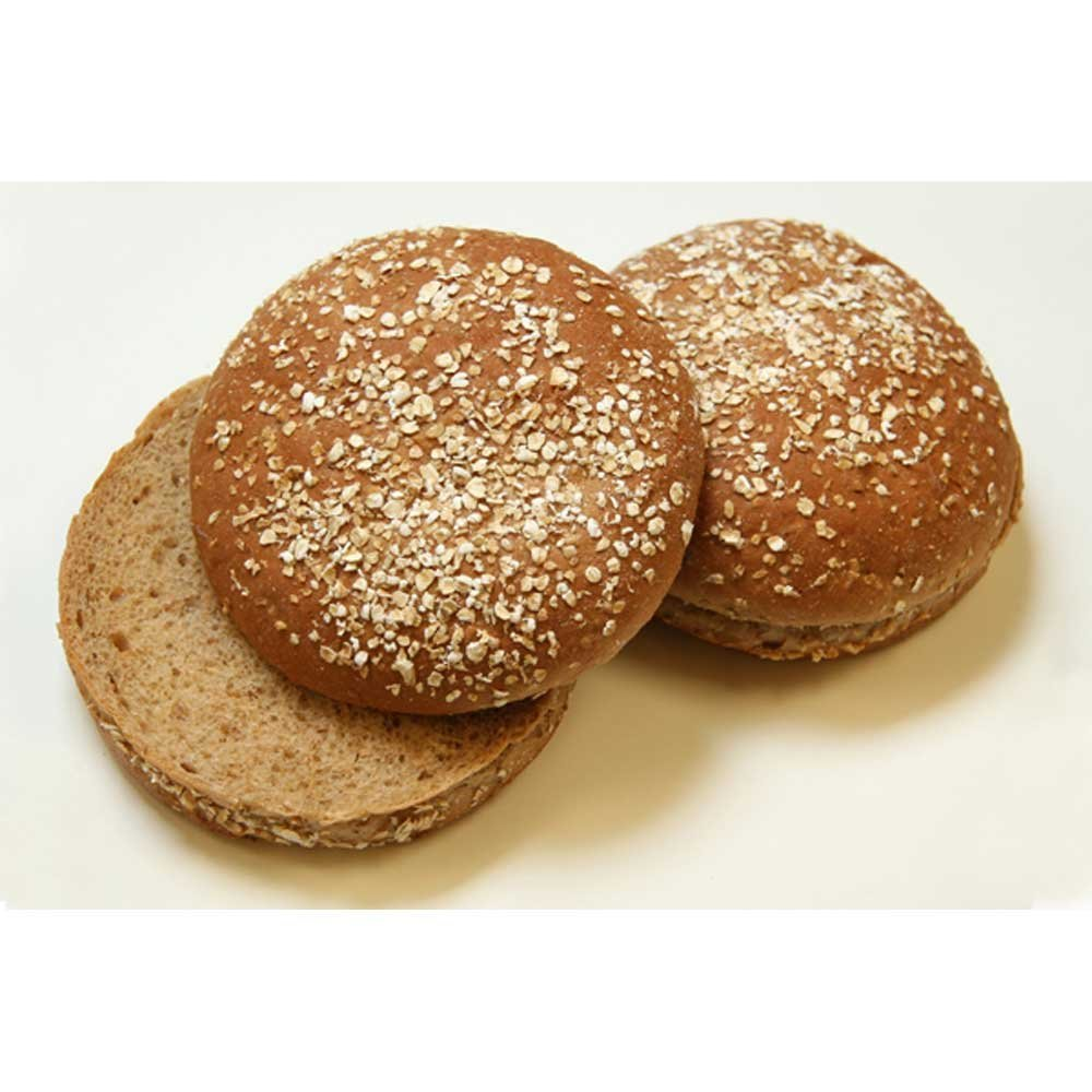 Rotellas Dark Wheat Oat Topped Hamburger Bun - 8 count per pack -- 12 packs per case. by Rotellas