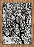 Forest Area Rug by Ambesonne, Forest Tree Branches Modern Design Spooky Horror Movie Themed Artwork Print, Flat Woven Accent Rug for Living Room Bedroom Dining Room, 5.2 x 7.5 FT, Black and White