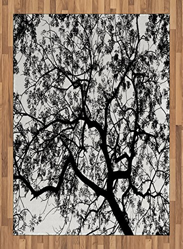 Forest Area Rug by Ambesonne, Forest Tree Branches Modern Design Spooky Horror Movie Themed Artwork Print, Flat Woven Accent Rug for Living Room Bedroom Dining Room, 5.2 x 7.5 FT, Black and White by Ambesonne