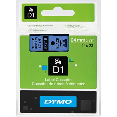 DYMO Standard D1 Labeling Tape for LabelManager Label Makers, Black print  on Blue tape, 1/2'' W x 23' L, 1 cartridge (45016)