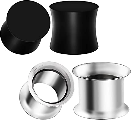 BIG GAUGES 2 Pairs Silicone Black White Star Double Flared Saddle Piercing Jewelry Ear Stretcher Plugs Flesh Tunnel Earring Lobe