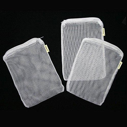 Aquacity™ Aquarium Filter Media Bags for Pelletized Carbon, Bio Balls, Ceramic Rings, Ammonia Remover (White, 8