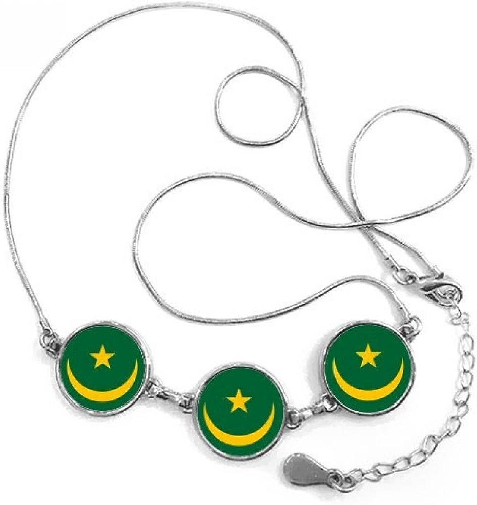 DIYthinker Mauritania África Nacional Emblema Forma Redonda Colgante Collar Joyas con Cadena decoración Regalo