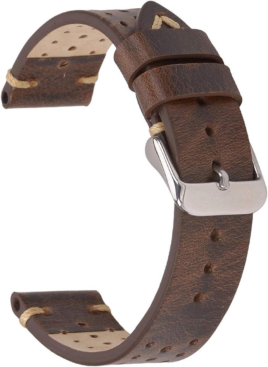EACHE - Correa de reloj de piel auténtica con barra de resorte de liberación rápida