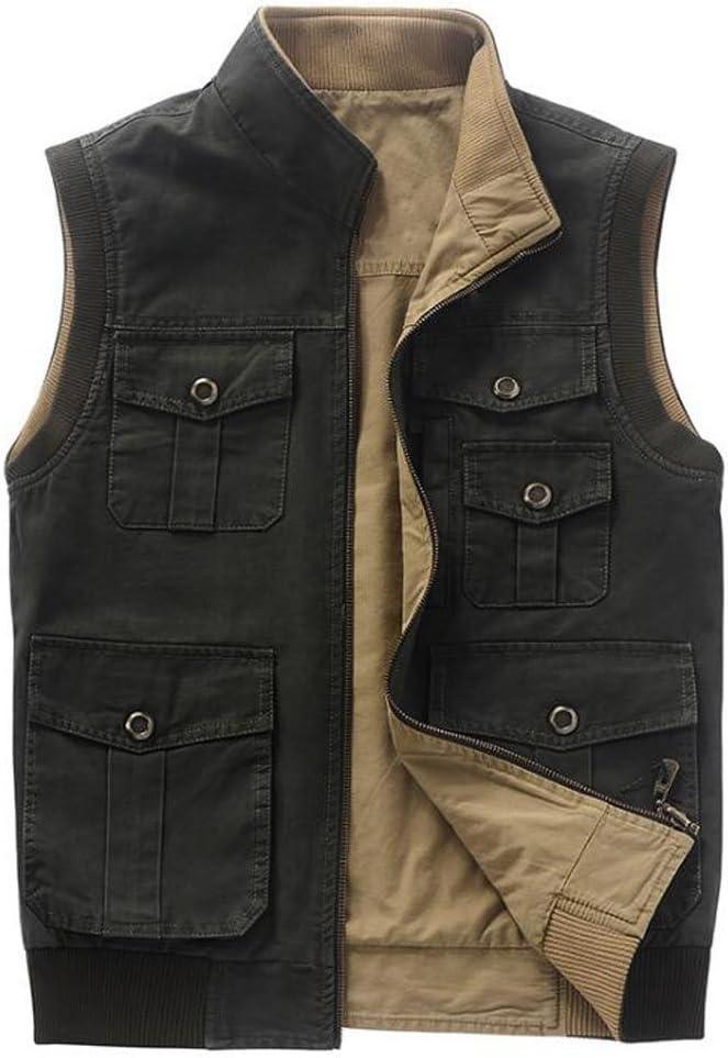 Color : Khaki, Size : XXL Vest Jacket Mens Cotton Mens Thin Section Fashion