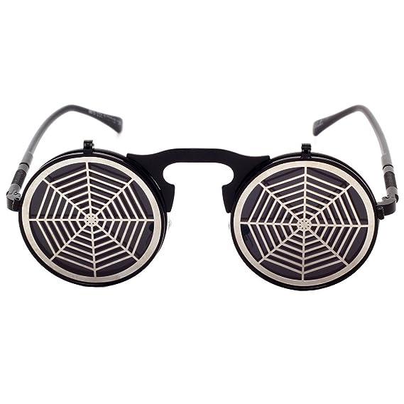 hibote Steam Punk Sunglasses Gothic Vintage personnalit¨¦ Clamshell Lunettes Homme Femme ronde en m¨¦tal Shades C16 cJvdB3GAtl