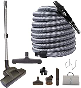 OVO Central Vacuum Deluxe Plus Kit, With 35ft Low-Voltage hose, ON/OFF Control at the handle Air driven Beater, 12'' floor brush and accessories, For hard surfaces and carpets, Black and grey