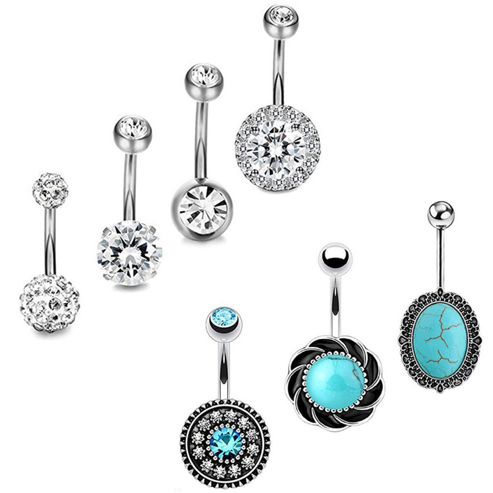 JDXN 3PCS14G Stainless Steel CZ Opal Belly Button Rings Navel Barbell Piercing Body Jewelry For Women (Silver Style 2/7pcs/set)