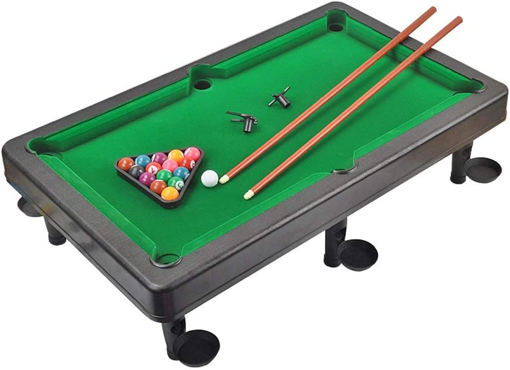 Billar Snooker plegable Con mini bolas de piscina Cue Sticks mesa de billar Mesa Juguete for adultos niños Mini mesa de billar de mesa de plástico en miniatura Pool Juego Set Los