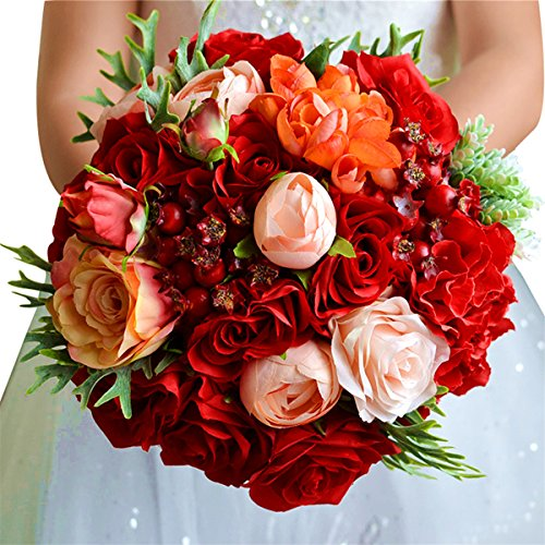 Zebratown 9'' Artificial Real Touch Flower Silk Rose Bridal Wedding Bouquets with Crystal Red