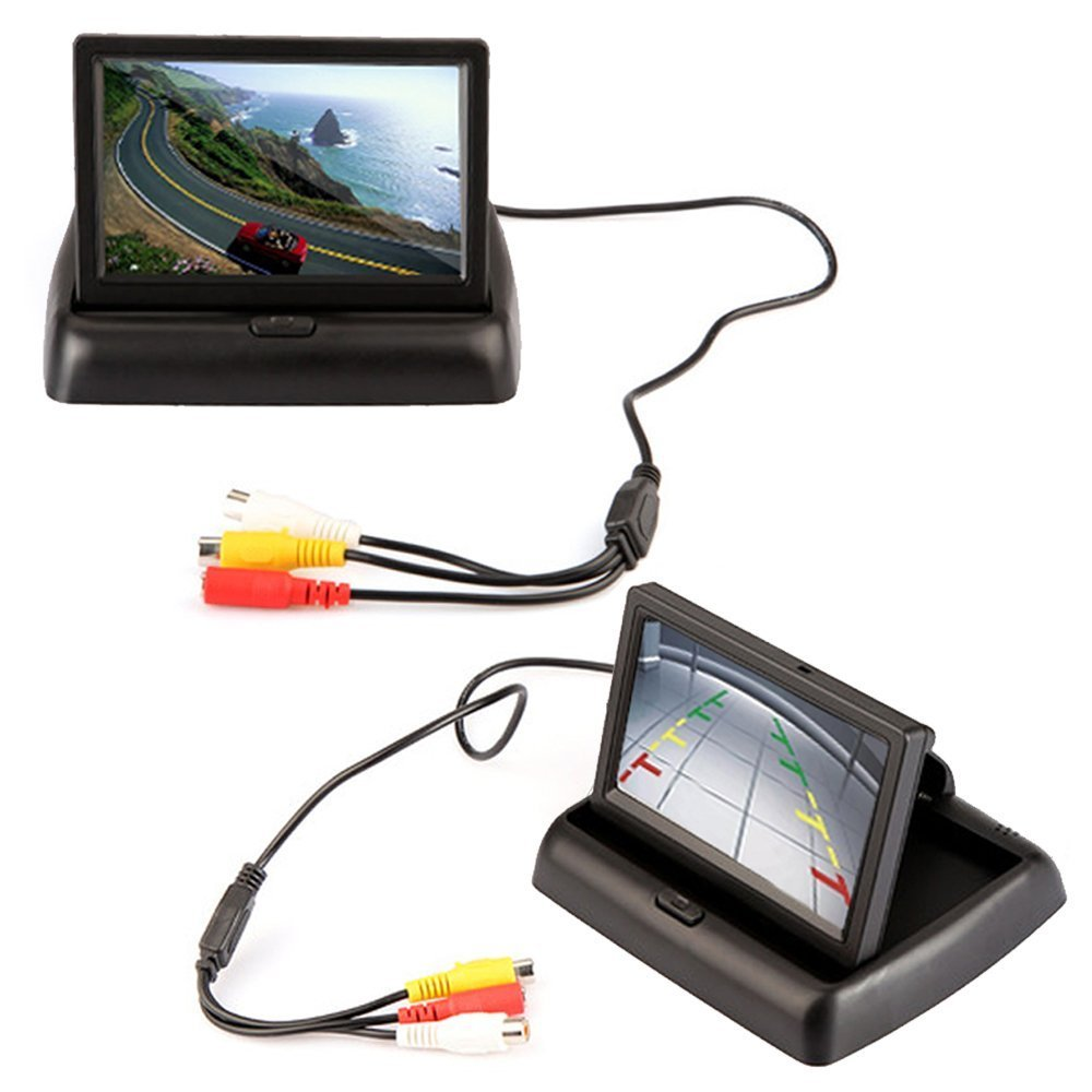 E-best® 4.3'' Foldable TFT Color LCD Car Reverse Rearview Monitor Screen;16:9 4.3inch Foldable Vehicle TFT Color LCD Screen Display Rearview Monitor for Parking Camera VCR DVD VCD