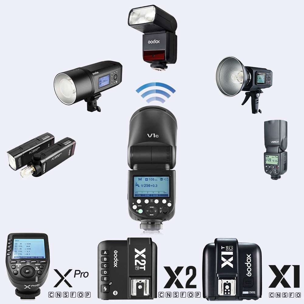 GODOX V1-C Flash Speedlight for Canon with X1T-C Trigger 76Ws 2.4G TTL 1//8000 HSS 1.5 sec Recycle Time 480 Full Power 2600mah Li-ion Battery