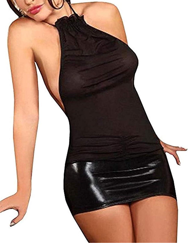 SxyBox Lencería Mujer Ropa Interior elástica Mini Vestido sin Mangas Club Desgaste Transparentes Teddy