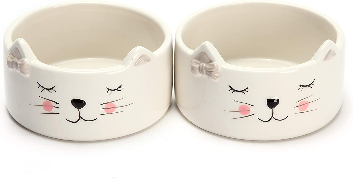 Kurrajong Farmhouse Set of 2 Ceramic cat Bowls - 4.5