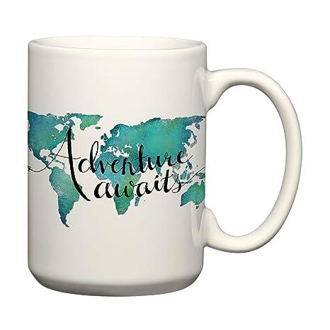 Amazon adventure awaits 15 oz mug world map coffee mug travel adventure awaits 15 oz mug world map coffee mug travel quote mug gumiabroncs Image collections