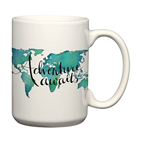 Amazon adventure awaits 15 oz mug world map coffee mug travel adventure awaits 15 oz mug world map coffee mug travel quote mug sciox Image collections