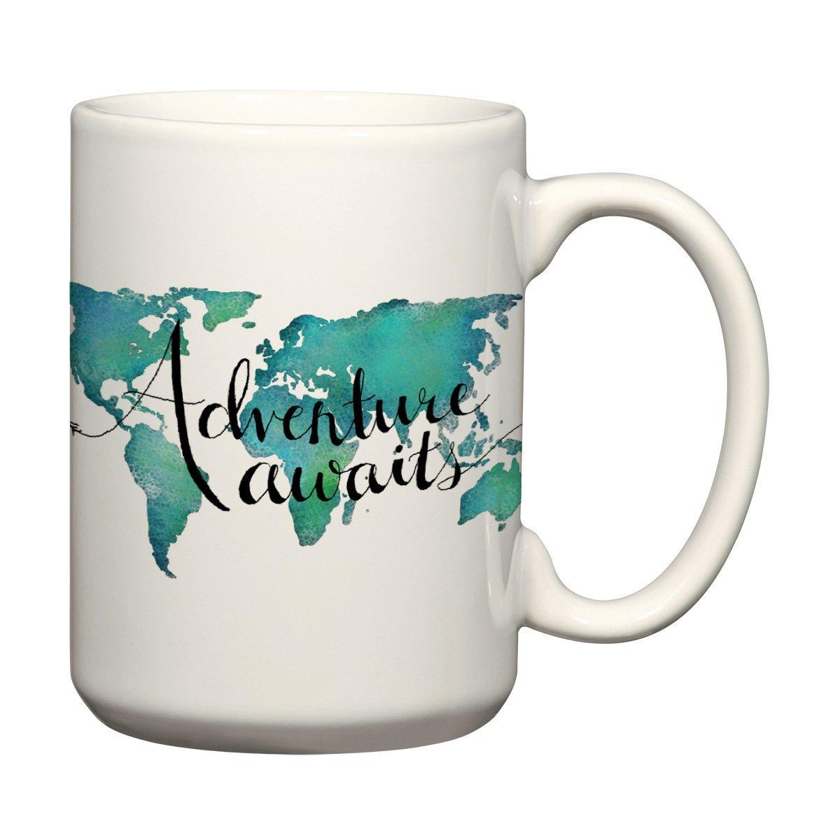 Adventure Awaits 15 oz Mug World Map Coffee Mug Travel Quote Mug