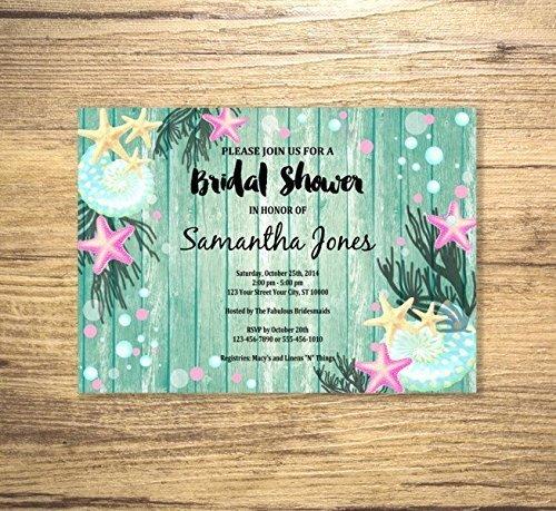 beach theme bridal shower invitation starfish and sea shells bridal shower invitation